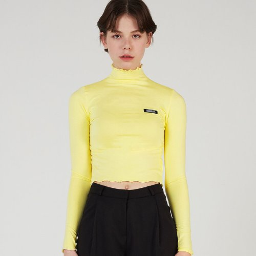 MG0S LETTUCE HALF NECK CROP TEE (YELLOW)