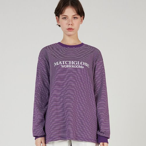 MG0S THIN STRIPE LOGO TEE (PURPLE)