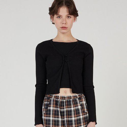MG0S TWO BUTTON CROP CARDIGAN (BLACK)
