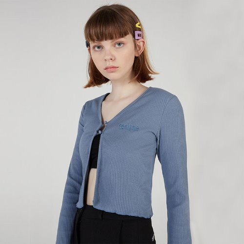MG0S TWO BUTTON CROP CARDIGAN (DARK BLUE)