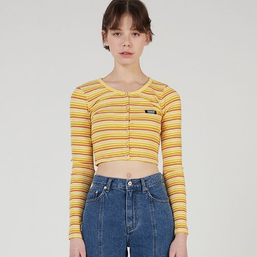 MG0S STRIPE CROP CARDIGAN (YELLOW)
