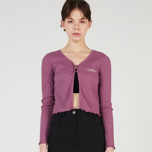 MG0S TWO BUTTON CROP CARDIGAN (PURPLE)