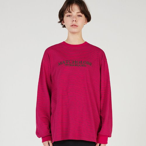 MG0S THIN STRIPE LOGO TEE (PINK)