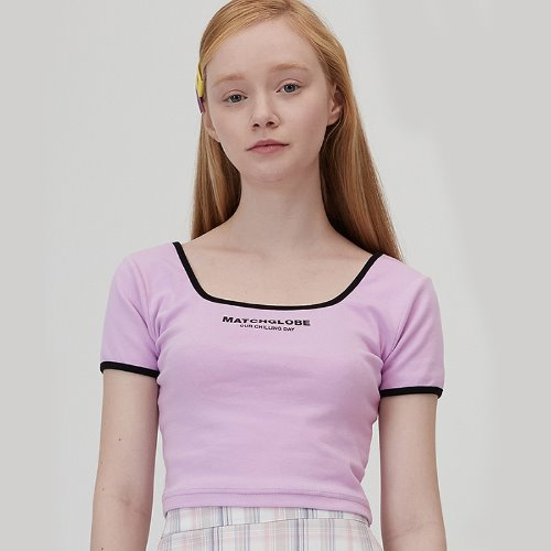 MG0S SPQUARE NECK COLOR TEE (PURPLE)