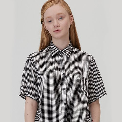 MG0S HALF SLEEVE CHECK SHIRTS (BLACK)