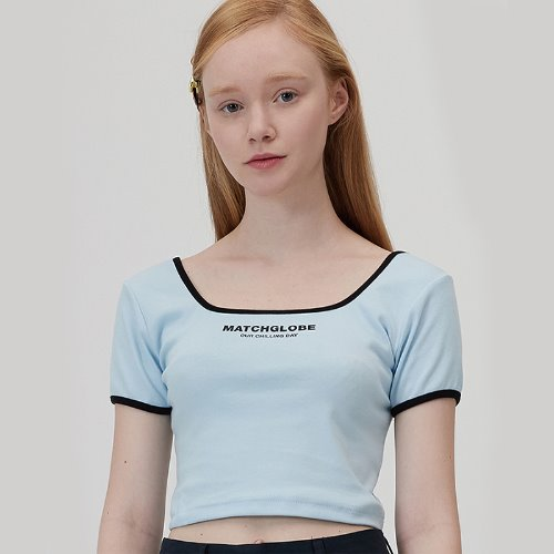 MG0S SPQUARE NECK COLOR TEE (BLUE)