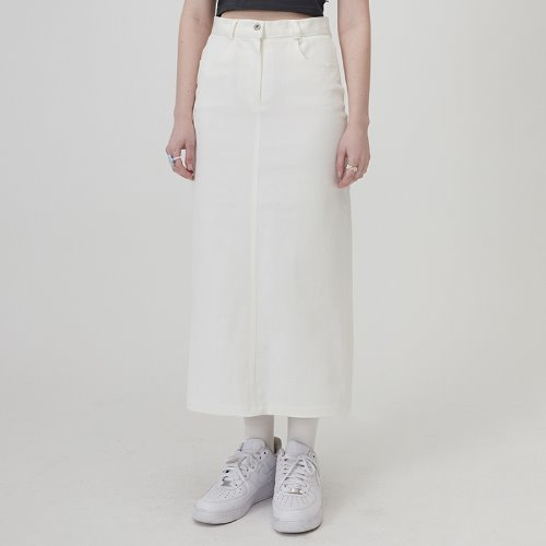 MG0S COTTON TWILL LONG SKIRT (WHITE)