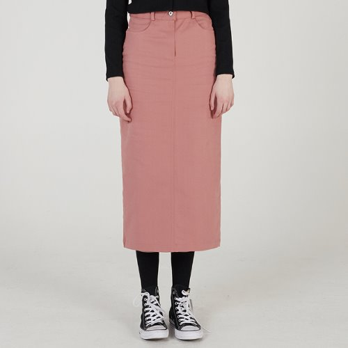 MG0S COTTON TWILL LONG SKIRT (PINK)