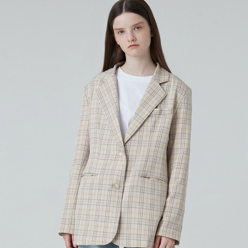 MG0F CASUAL CHECK BUTTON JACKET (BEIGE)