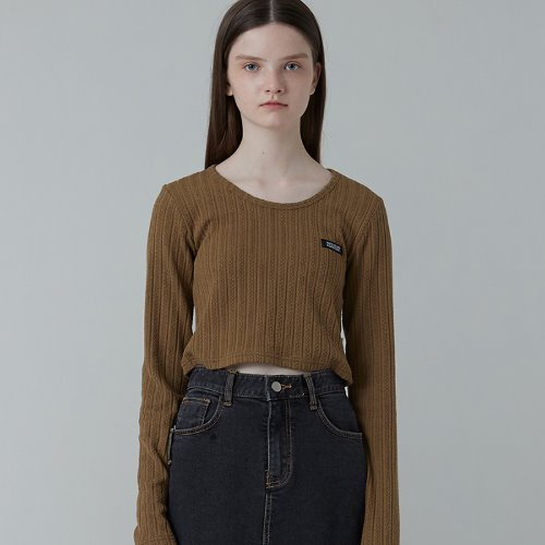 MG0F CROP POINT KNIT TEE (BROWN)